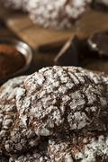 Chocolate crinkle cookies with powdered sugar Stock Photos