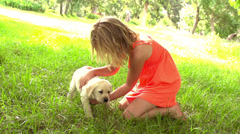 Girl petting little dog in slow motion - stock footage