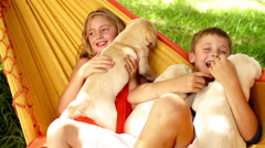 Children with puppies - stock footage