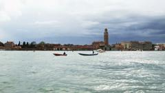 0319 Daily traffic on the lagoon in front of Castello area Stock Footage