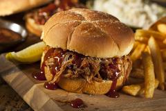Barbeque pulled pork sandwich Stock Photos