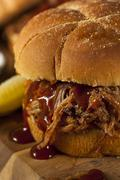 barbeque pulled pork sandwich - stock photo