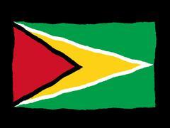 Stock Illustration of Handdrawn flag of Guyana
