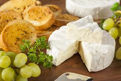 organic homemade white brie cheese - stock photo