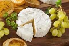 Organic homemade white brie cheese Stock Photos