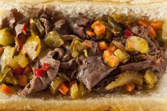 Hearty italian beef sandwich Stock Photos