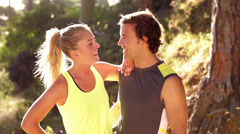Slow motion of runner couple in fitness outfit Stock Footage