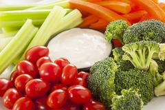 Organic raw vegetables with ranch dip Stock Photos