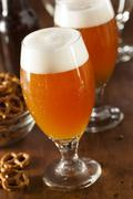 refreshing belgian amber ale beer - stock photo