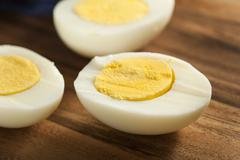 organic hard boiled eggs - stock photo