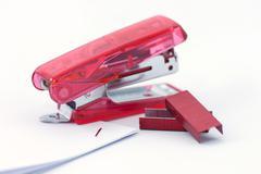 red stapler - stock photo