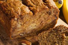 homemade banana nut bread - stock photo