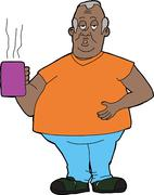 tired man with cup - stock illustration