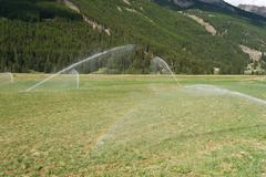 irrigating field on summer - stock photo