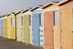 Beach huts at Seaford. UK Stock Photos