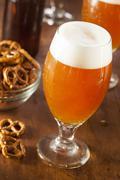 refreshing belgian amber ale beer - stock photo