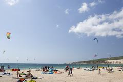 Kite surfers in tarifa Stock Photos