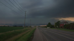 Storm clouds lightning and shelf clouds on severe thunderstorm - stock footage