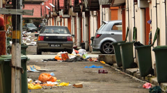 Kuala Lumpur Brickfields district Little India garbage rubbish at back street Stock Footage