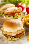 breaded fish sandwich with tartar sauce - stock photo