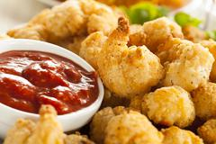 organic breaded popcorn shrimp - stock photo