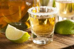 tequila shots with lime and salt - stock photo