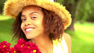 Stock Video Footage of African american girl in park with hat