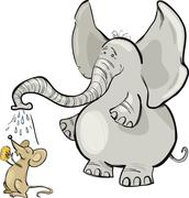 Stock Illustration of mouse and elephant