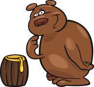 Bear and honey - stock illustration