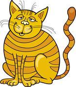 Happy Yellow Cat - stock illustration