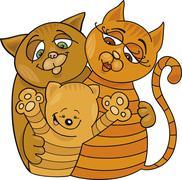 happy cats family - stock illustration