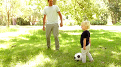 Father and Son playing soccer Stock Footage