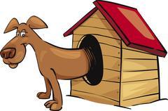 Dog in kennel Stock Illustration