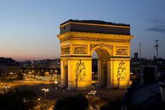 the arc de triomphe in paris, france - stock photo