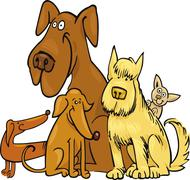 Stock Illustration of Five funny Dogs