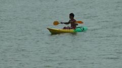 Thailand Ko Samui Island 068 beach scene, girls and a thai guy with a canoe Stock Footage