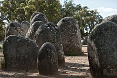 Megalithic monument of Almendres, Evora Stock Photos