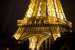 Stock Photo of eiffel tower lit up at night