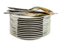 Stack of dishware - stock photo