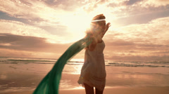 Girl having fun at the beach Stock Footage