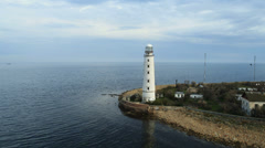 Aerial View: Chersonesus lighthouse, Sevastopol, Crimea. Stock Footage