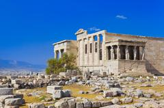 Erechtheum temple in Acropolis at Athens, Greece Stock Photos