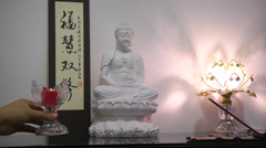 Buddha Praying Offering setup Stock Footage