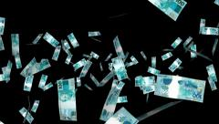 Money Explosion - 100 Brazilian Reals - 07 - Alpha Channel - stock footage