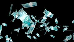 Money Explosion - 100 Brazilian Reals - 05 - Alpha Channel - stock footage