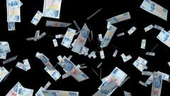 Money Explosion - 100 Turkish Lira - 05 - Alpha Channel Stock Footage