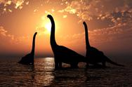 Stock Illustration of Brachiosaurus at sunset