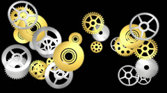 Technology background with metal gears and wheels - looping, alpha Stock Footage