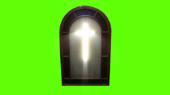 1143 Church Stain Glass Cross with Green Screen  Stock Footage