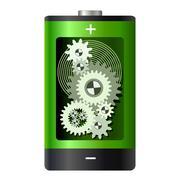 Battery with gear wheels inside. metaphor Stock Illustration
